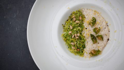 Shredded Garlic Brussels Sprouts with Pine Nut Risotto