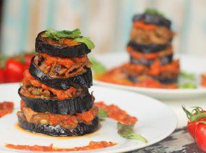 Aubergine Towers & Roast Tomato Sauce