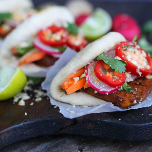 Bao Buns with Sticky Tofu