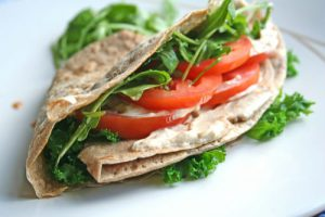 Buckwheat Pancakes with Spinach and Vegan Cream Cheese