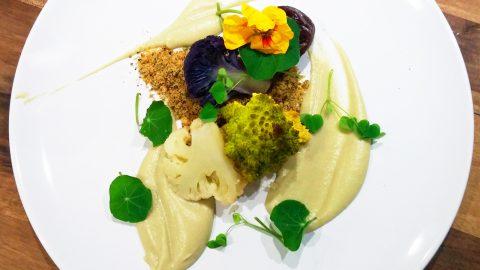 Cauliflower & Hazelnut Savoury Crumble with Smoky Prune Purée