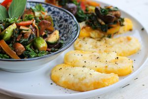 Cheesy Polenta Slices with Stir-fried Brussels Sprouts