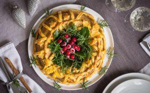 Vegan Christmas Tofu Wreath with Brandied Mushroom Chestnut Filling