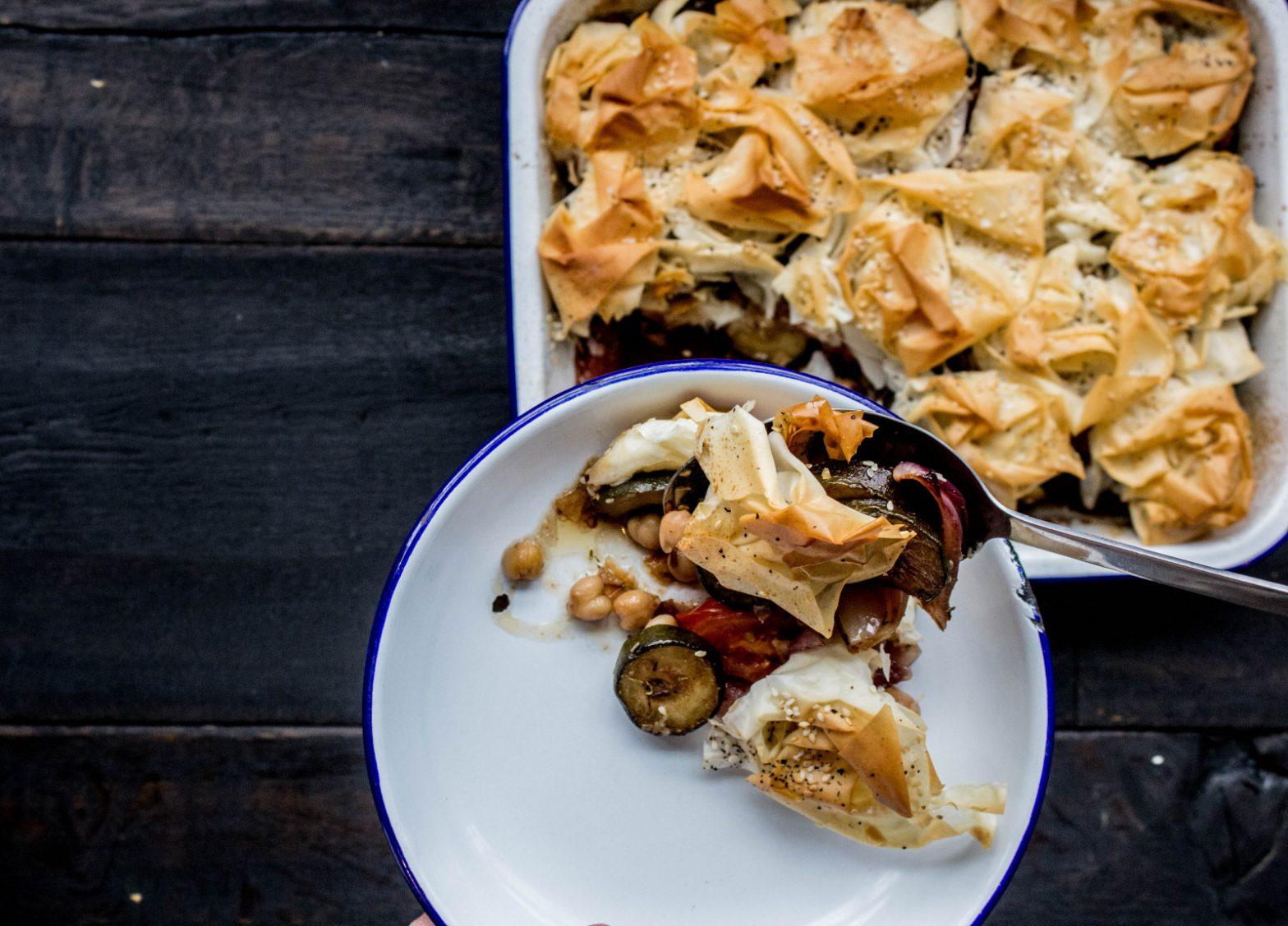 Courgette & Chickpea Filo Pie