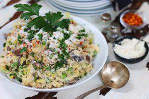 Creamy Leek & Mushroom Pasta with Peas