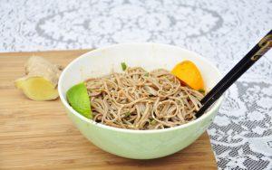 Ginger Soba Noodles with Lentil Salad