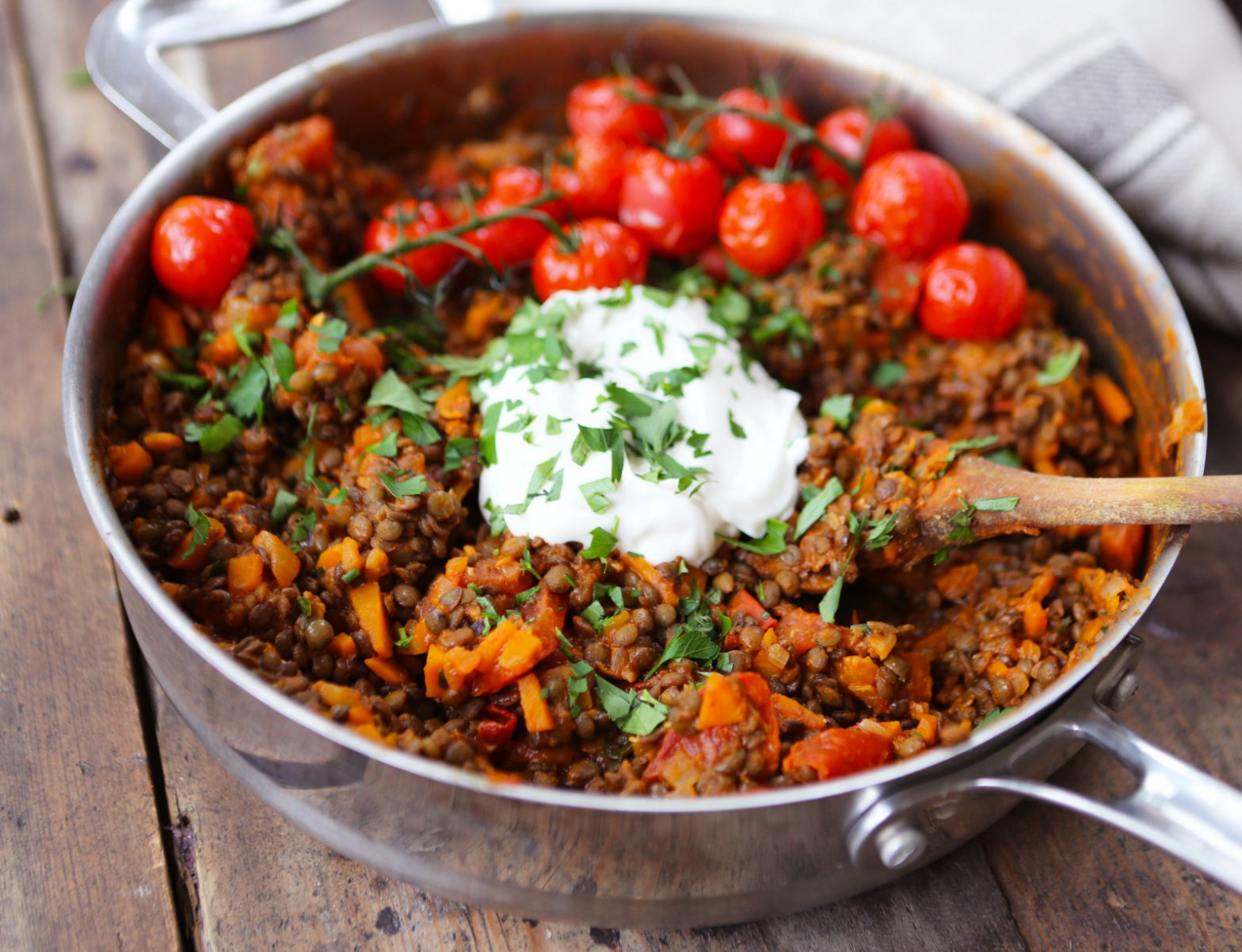 White Wine Lentils with Roasted Cherry Tomatoes & 'Crème Fraîche'