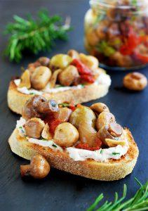 Marinated Mushroom Bruschetta