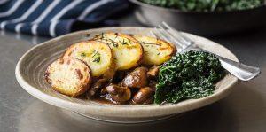 Mushroom and Seitan Stew with Crispy Potatoes
