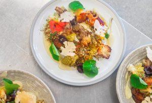 Broccoli and Oyster Mushroom Tempura with Forced Rhubarb Sauce