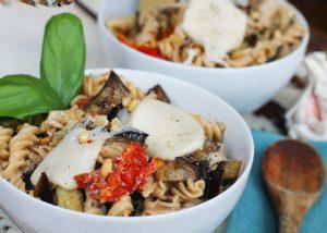 Pasta with Aubergine & Artichokes