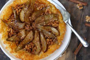 Simple Pear & Walnut Tarte Tatin