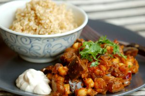 Quick Aubergine & Tomato Curry with Optional Chickpeas