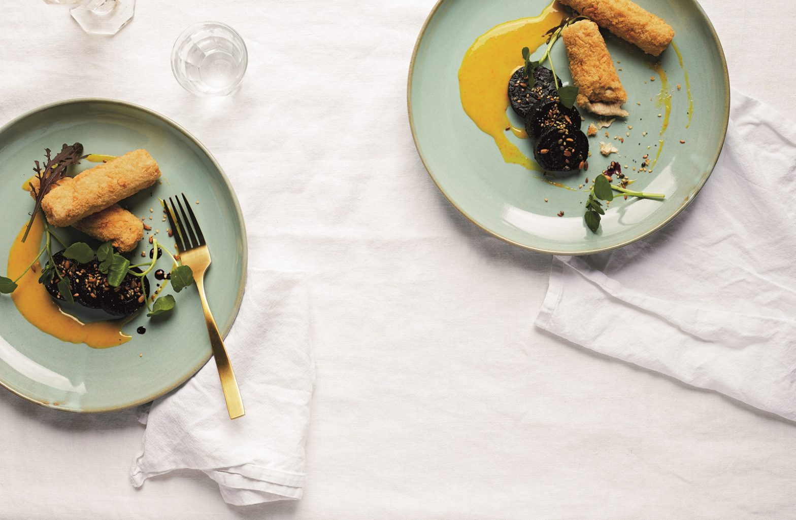 Smoked Cashew Croquetas (with port-glazed red beetroot and orange emulsion)