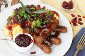 Sausages with Apple Mustard Mash & Gravy