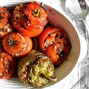 Gemista (Greek Stuffed Peppers & Tomatoes)
