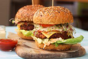Tofu Burger with Wedges & Salad