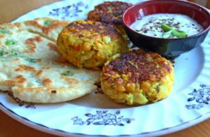 Spicy Chickpea and Cauliflower Patties with Spring Onion Chapatis