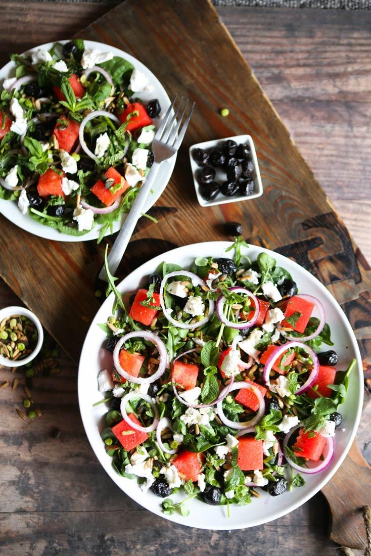 Watermelon, 'Feta' & Seed Salad